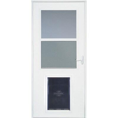Larson Pet Door Xl White High View Wood Core Storm Door Common 32 In X 81 In Actual 31 75 In X 79 875 In At Lowes In 2020 Storm Door Pet Door Aluminum Storm Doors