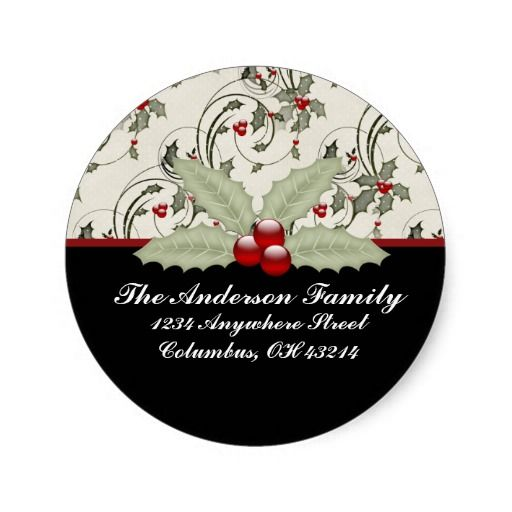 Christmas Holly 2 - Christmas Address Labels Stickers Christmas