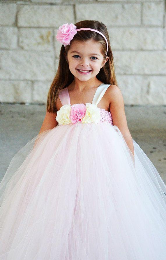 6480a4223 Rosa y beige vestido de tul para ceremonia