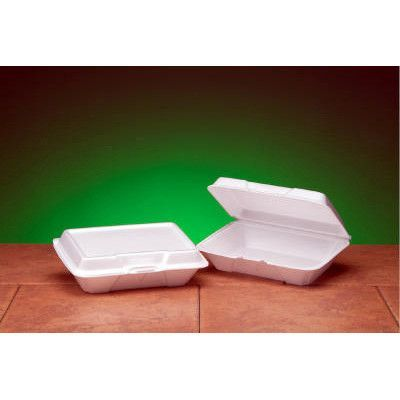 Genpak Foam Hinged Carryout Shallow Container In White Food Wrap
