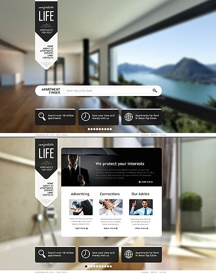 Apartment Website Design. Real Estate Website Template #javascript #html  #theme Http: