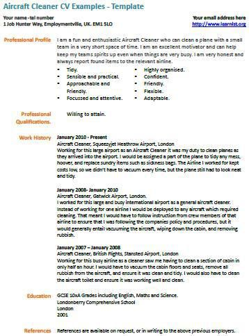 Cv Examples Cleaner Job Cover Letter Examples Template Samples