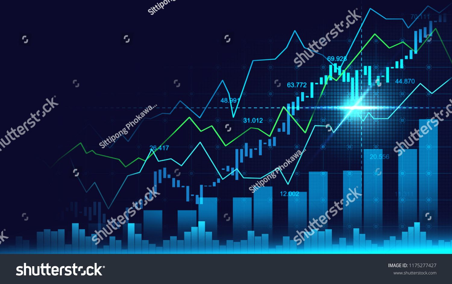 Stock Market Or Forex Trading Graph In Graphic Concept With