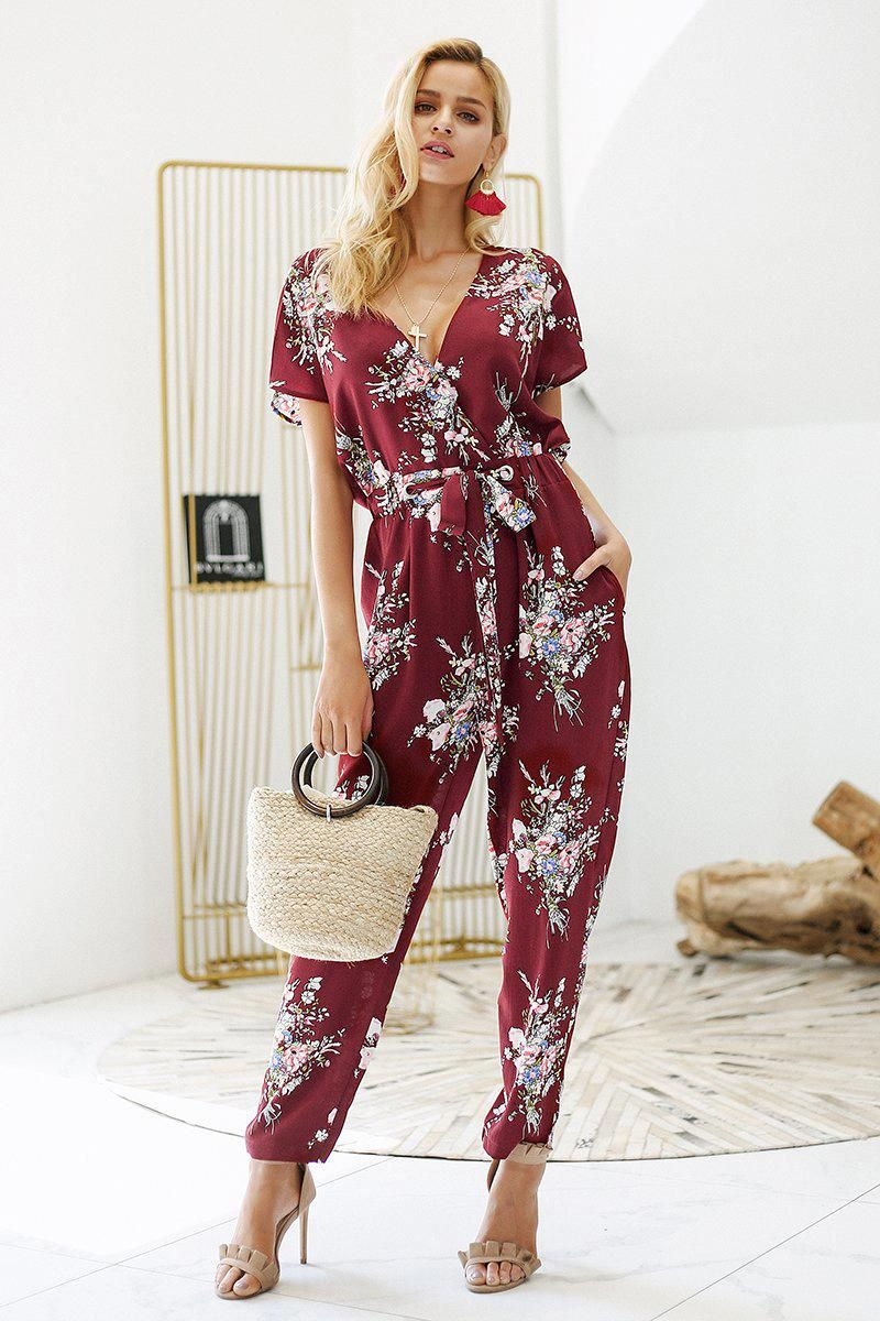 Boho floral print v neck casual jumpsuit vintage hey good looking