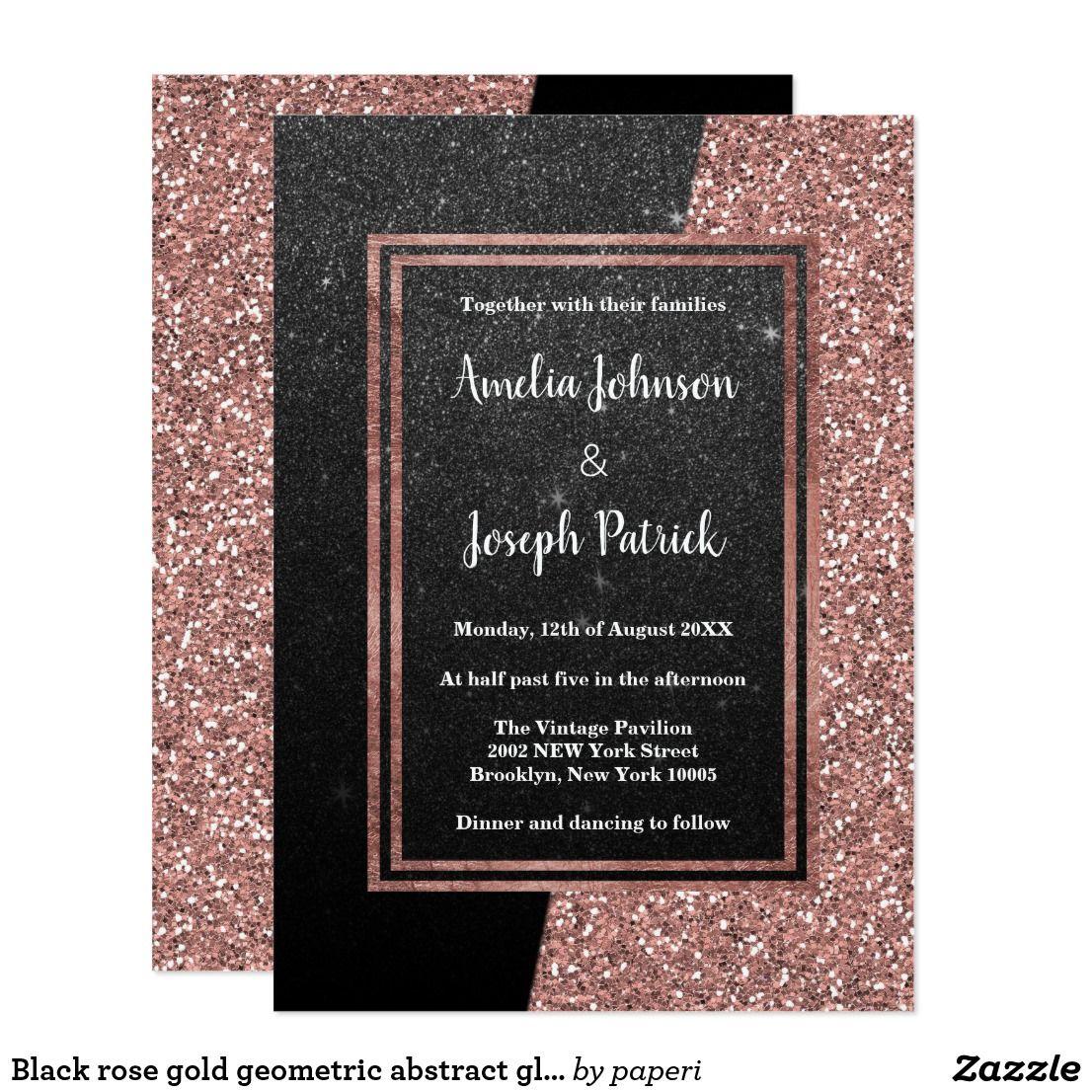 Black Rose Gold Geometric Abstract Glitter Wedding: Gl Frames Wedding Invitation At Websimilar.org