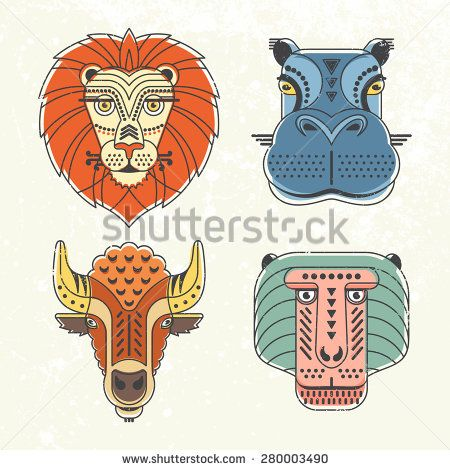 Animal portraits made in unique geometrical flat style. Vector heads of cute animals. Isolated icons for your design. - Shutterstock Premier