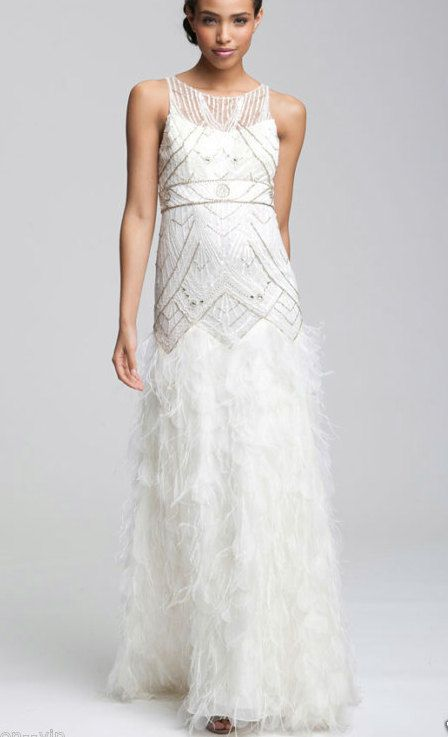 13c446e8c3330b Beaded art deco embroidery feather wedding dress white delicate vintage  style wedding formal SUE WONG. €500.00, via Etsy. Has the beading - with a  different ...