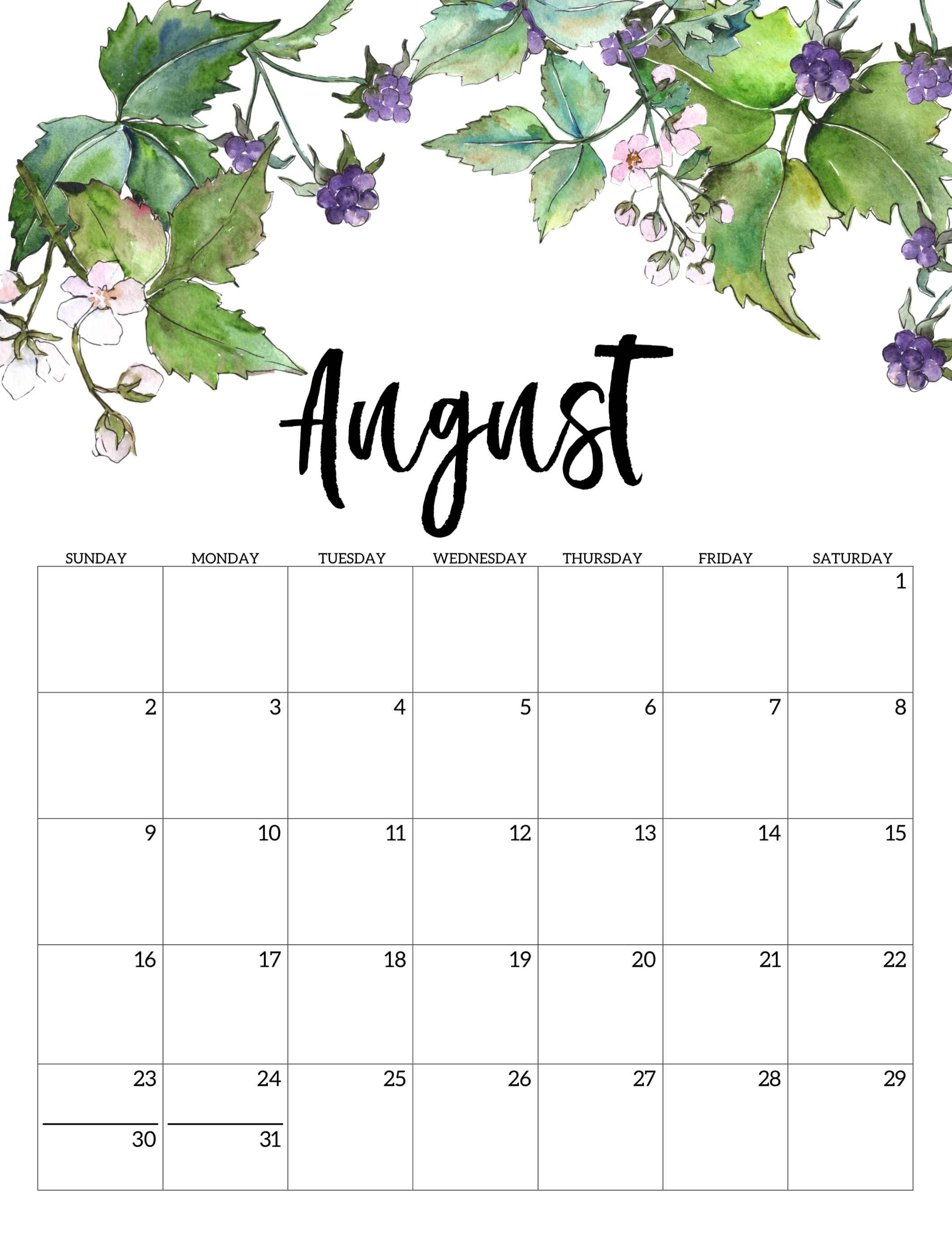 Cute August 2020 Calendar Free Printable Calendar Print