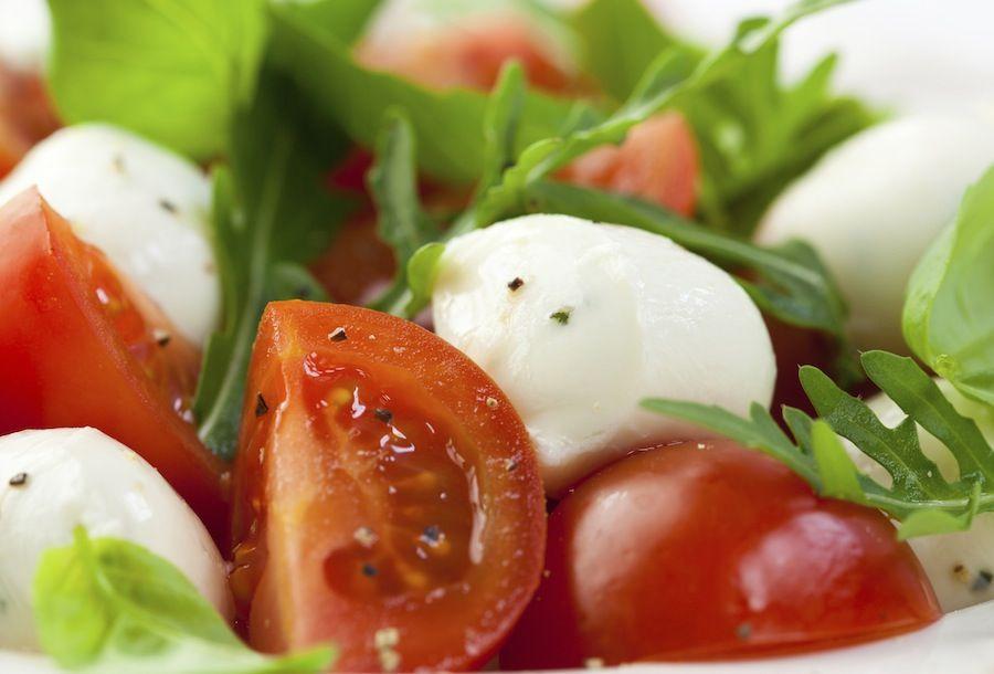 Cherry with baby mozzarella salad with sicilian olive oil & basil pesto