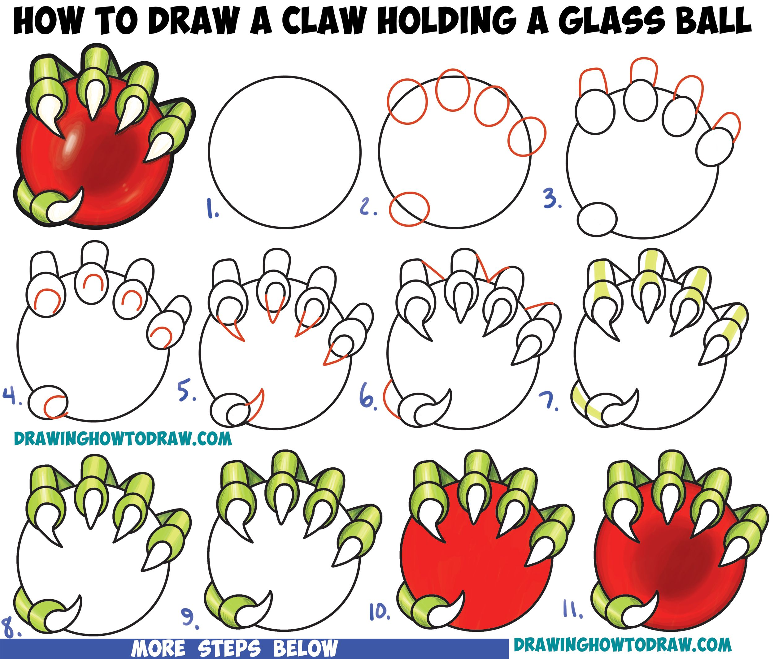 How To Draw A Dragon's Claw Holding A Glass Ball Easy Step By Step Drawing  Tutorial