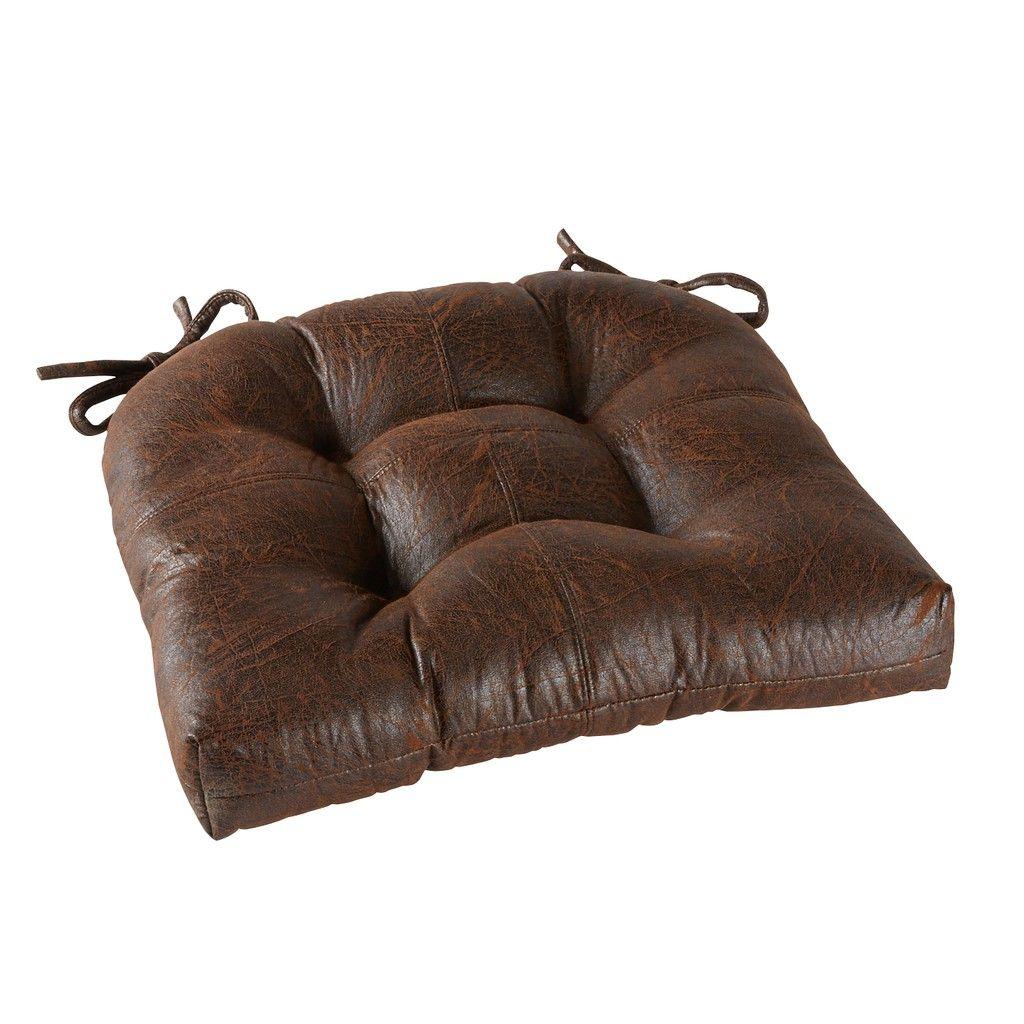 Brentwood Originals Nobuk Faux Distressed Leather Chair Pad 15 X 16 Inch Leather Chair Chair Pads Distressed Leather