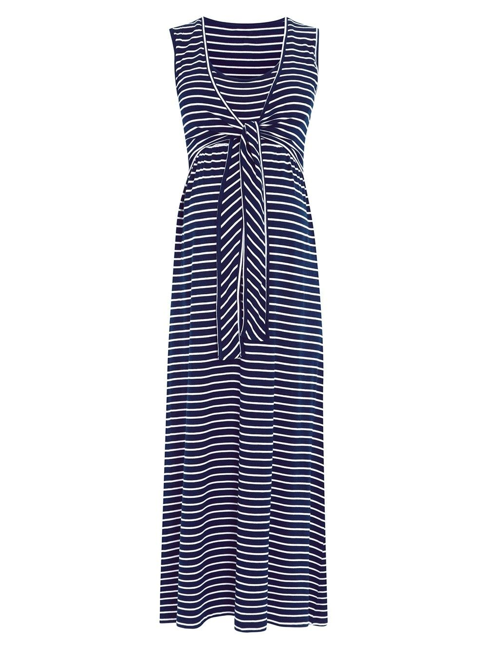 1345958f51b Navy Breton Maternity   Nursing Maxi Dress