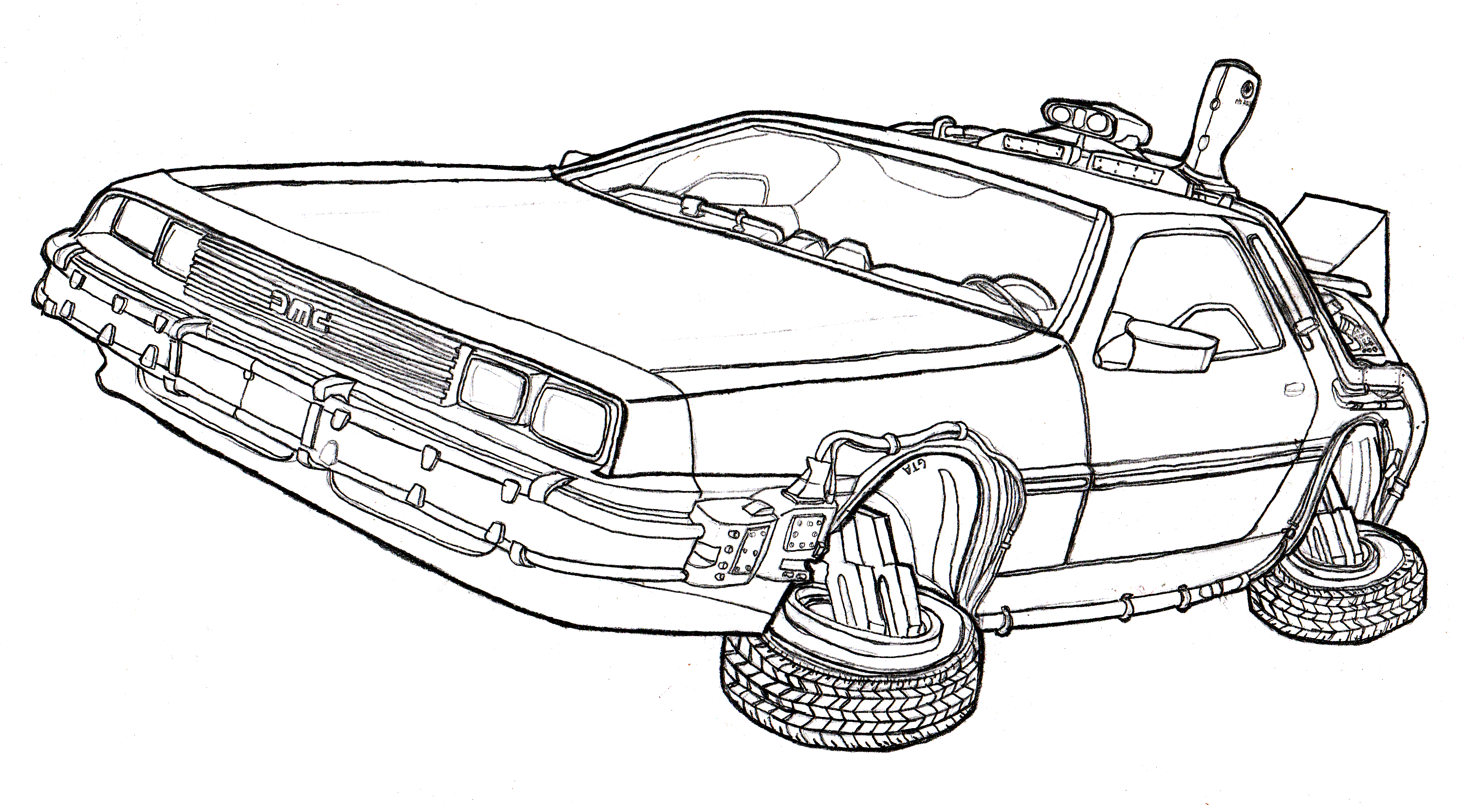 Back To The Future Colouring Pages Coloriage Dessin Voiture