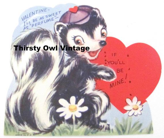 Digital Download Vintage Skunk Valentine by ThirstyOwlVintage