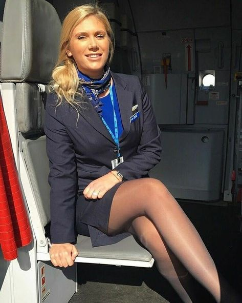 Flight attendant in pantyhose