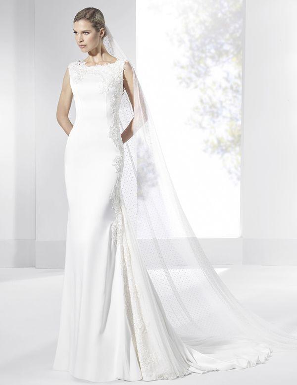 vestidos de novia línea sirena con godet del lateral de tul plumeti