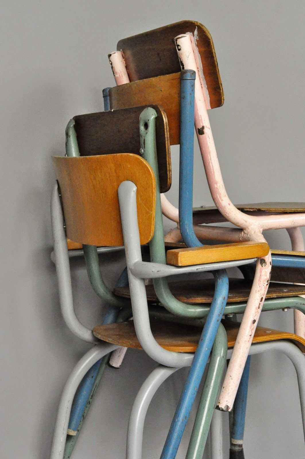 Retro battered school chairs - to kick off a little theme here of stacking chairs.....