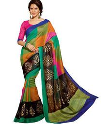 584566cf32 Buy green printed bhagalpuri silk saree With Blouse bhagalpuri-silk-saree  online
