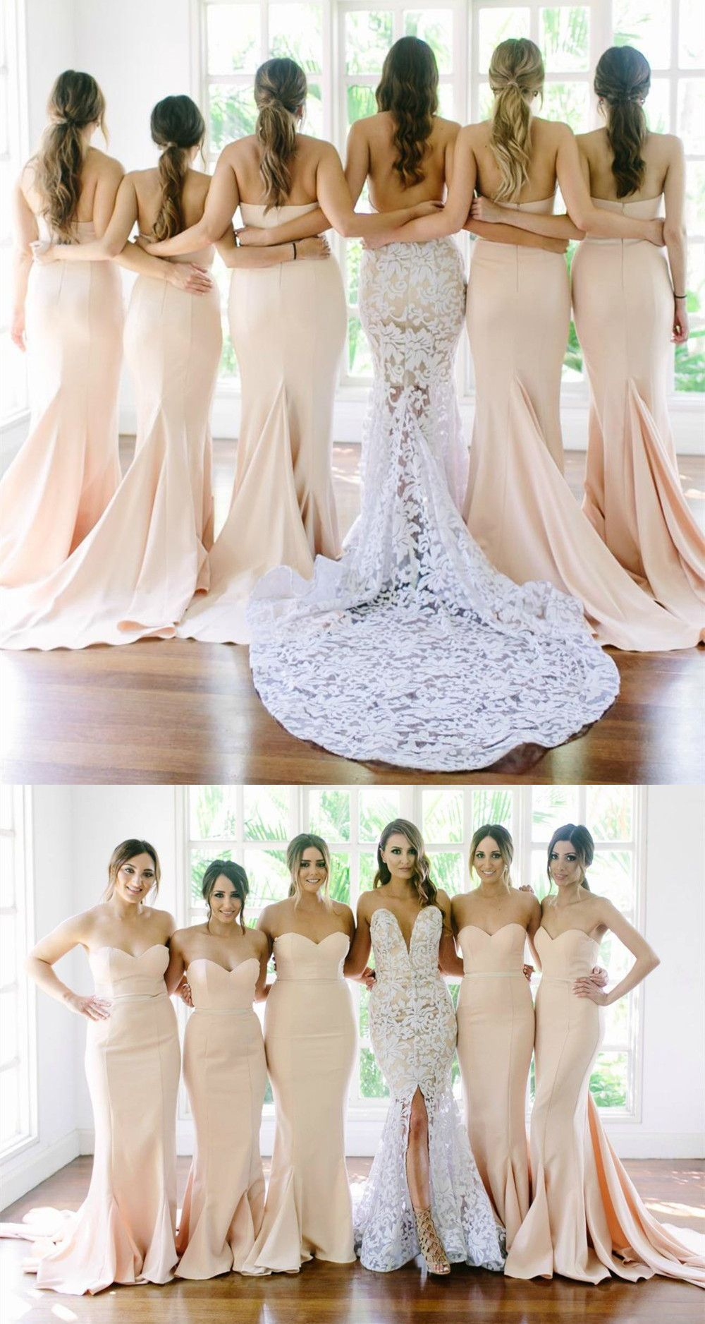 Sexy Strapless Mermaid Long Light Peach Bridesmaid Dress from modsele