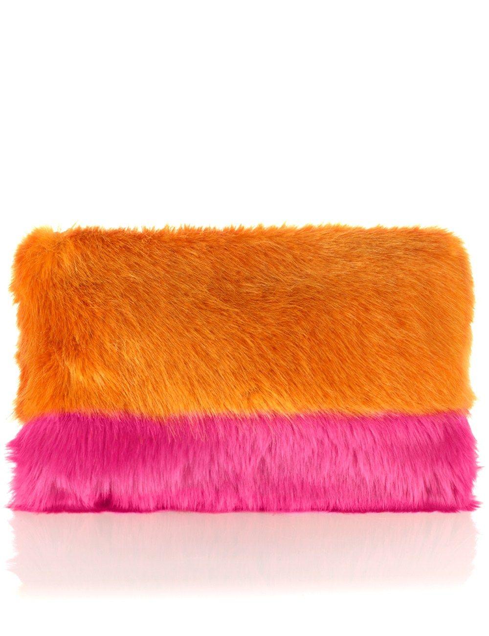 Orange Faux Fur Grayson Clutch | Shrimps | Avenue32