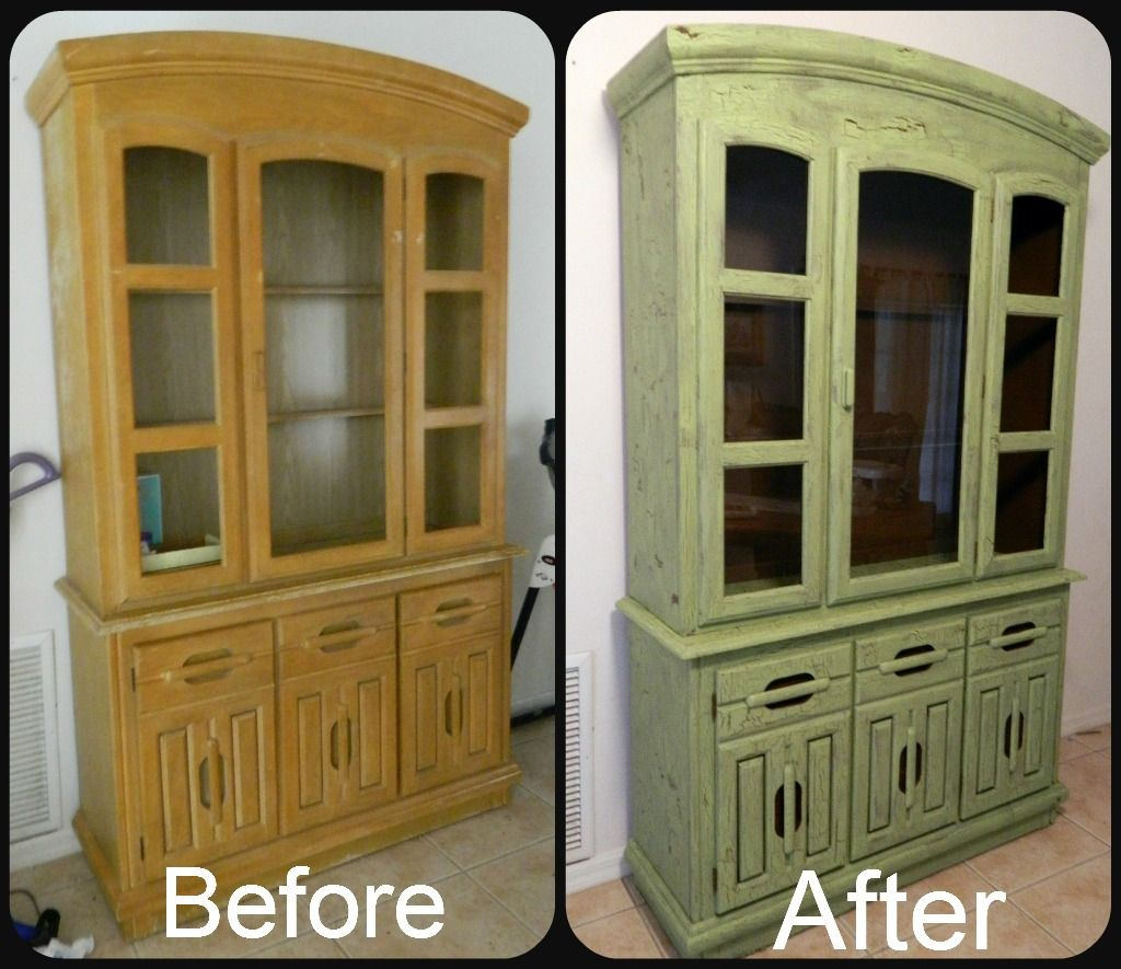Crackle Paint Kitchen Cabinets I Refinished My Old China Cabinet I Did A Faux Crackle