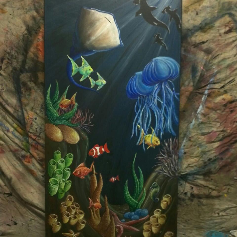 Ocean Floor Sold Art Painting SurrealioDanGi Fish Color - Ocean floor painting