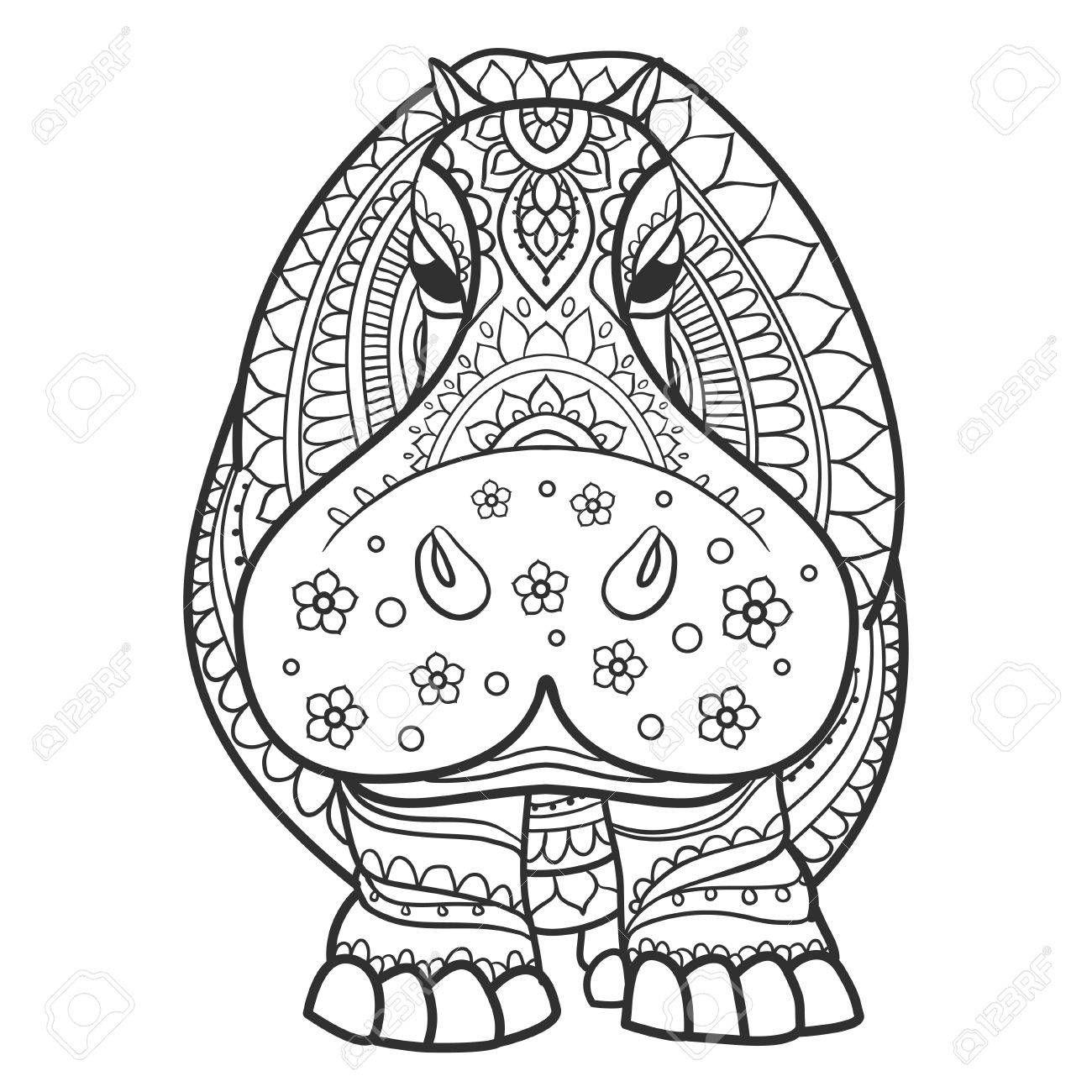 Ornament Hippo Vector Beautiful Illustration Hippopotamus For Hippo Tattoo Asian Dragon Tattoo Art Quilts