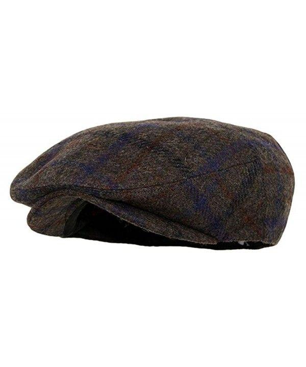 c00c3e21307 Men s Premium Wool Blend Snap Brim Newsboy Cabbie Cap Hat Plaid Brown  CT187DXL6DH - Hats   Caps