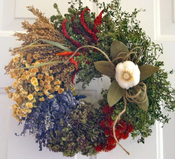 Photo of Herb Wreath, Culinary Wreath, Kitchen Wreath, Dried Floral Wreath,Garlic Wreath,Chili Pepper Wreath