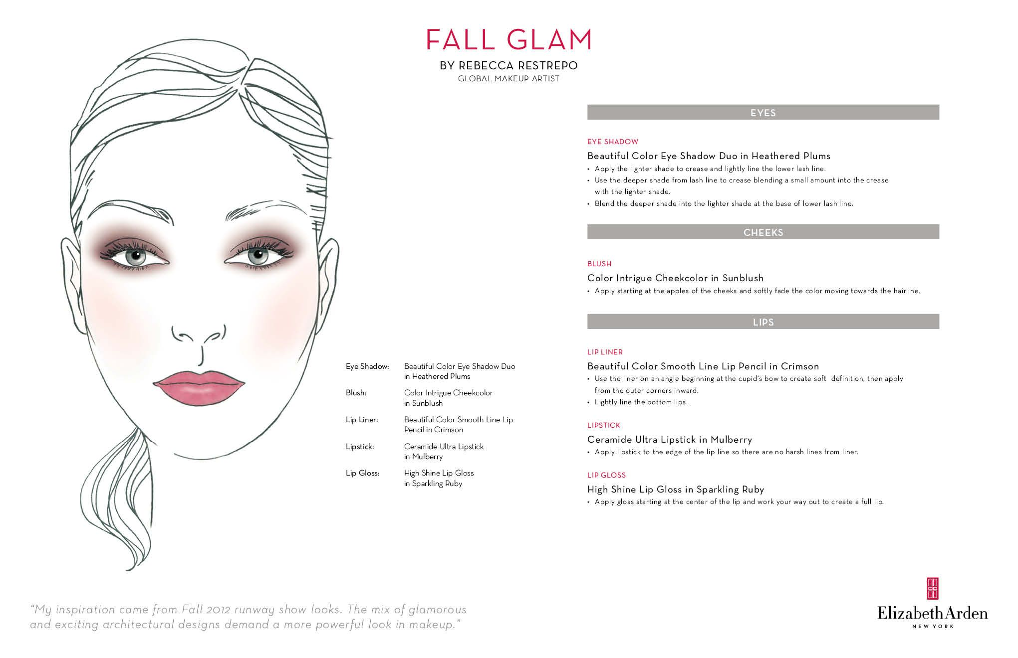 Elizabeth Arden's Fall Glam Face Chart Face chart