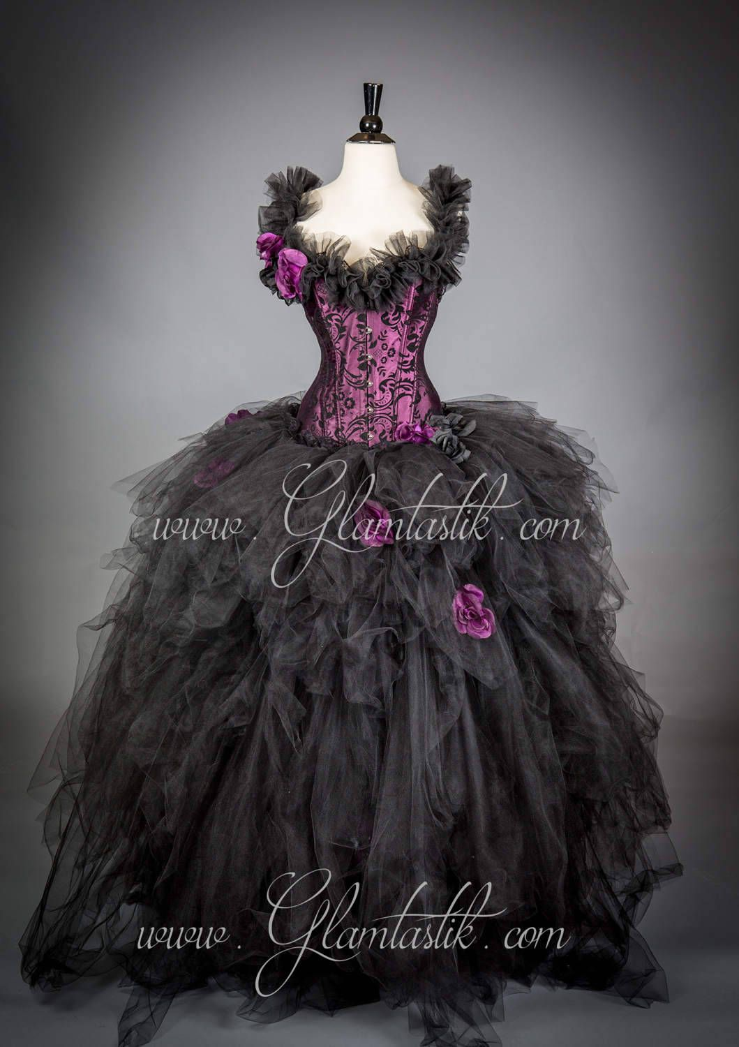 f77b3988a2 Size Medium plum and black burlesque tulle ball gown READY TO SHIP ...