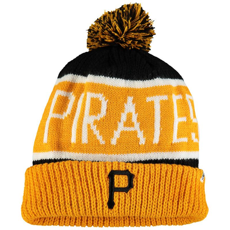 acd15f58db0 Pittsburgh Pirates  47 Calgary Cuffed Knit Hat with Pom - Black Gold ...