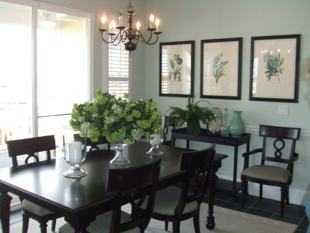 Decorating A Dining Room Buffet   In A Dining Room Too Small For A Real  Buffet, A Side Table Provides The Suggestion Of A Buffet And Anchors A  Large Blank ...