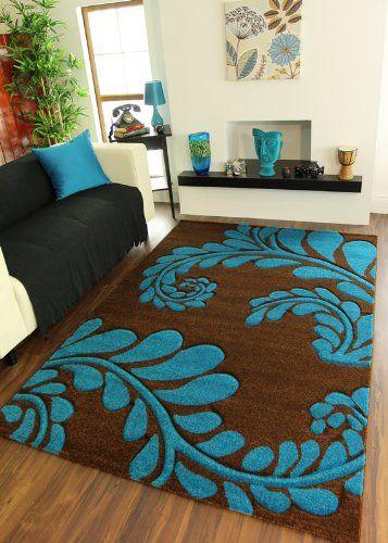 Havana 916 Coffee Brown And Turquoise Leaf Print Design Rug 110 Cm X 160 Cm 3 7 X 5 3 Living Room Decor Colors Turquoise Rug Living Room Rugs In Living Room
