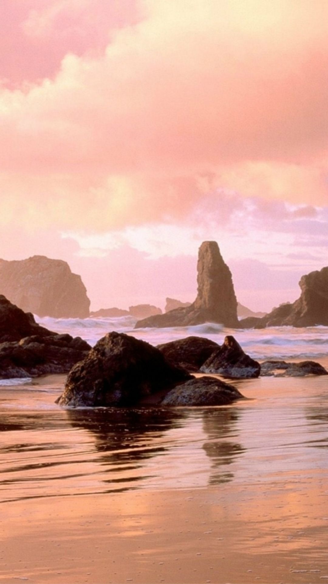 pink rock ocean sunset landscape #iphone #6 #plus #wallpaper