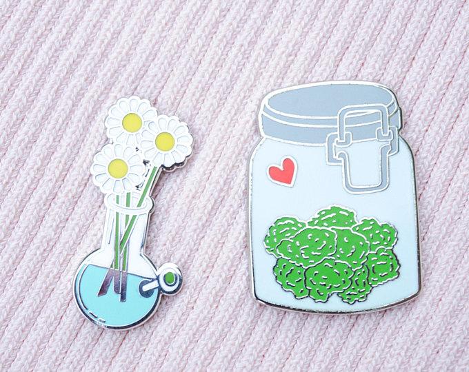 Kawaii Weed enamel pins