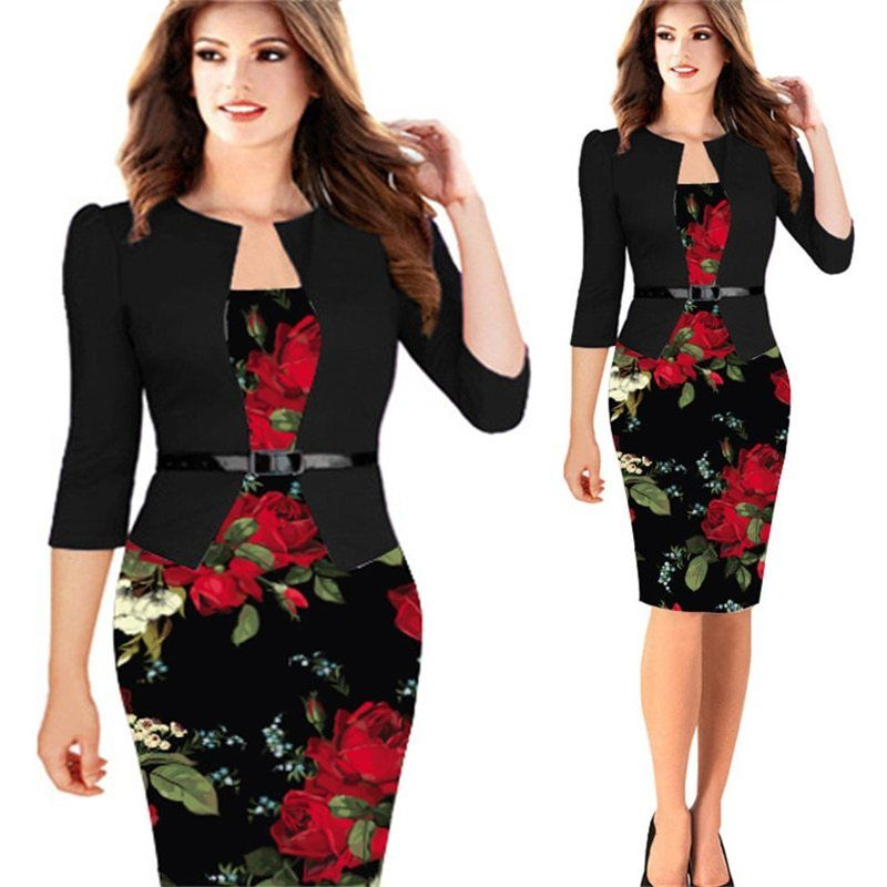 Elegant Summer for Women Office Pencil Bodycon Patchwork Party Dresses