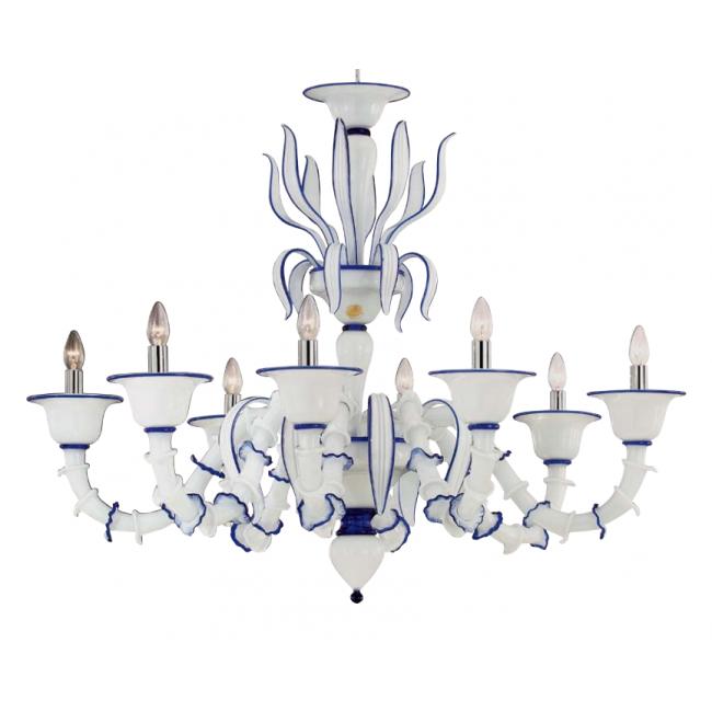Lustre design de murano blanc rehaussé de bleu