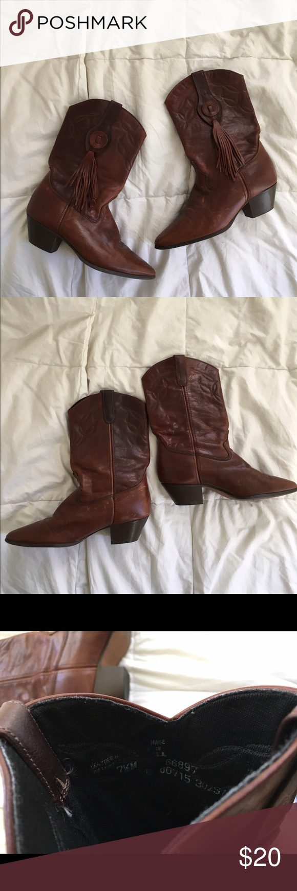 Cowboy boots Size 7.5, all wear is shown. Shoes