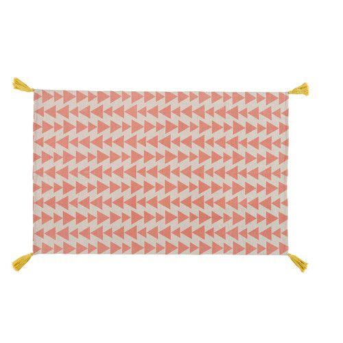 Tapis Motif Triangles En Coton Rose 120 X 180 Cm Tapis