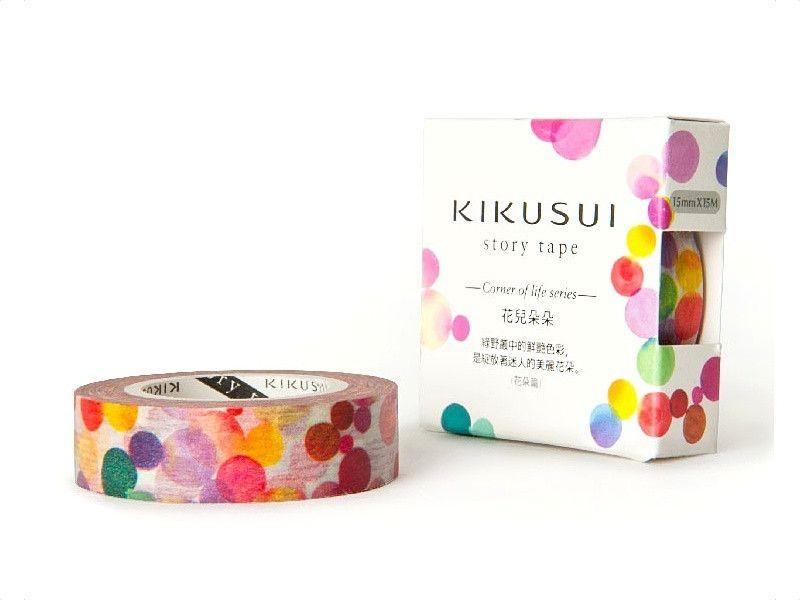 KIKUSUI Washi Tape - Watercolour Dots Red - Extra Long Roll – Rabbit & the Duck