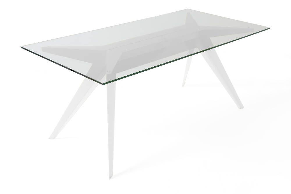 table stern 220 by stephan lanez en verre et aluminium blanc 220x90x72cm sur jardindeco. Black Bedroom Furniture Sets. Home Design Ideas