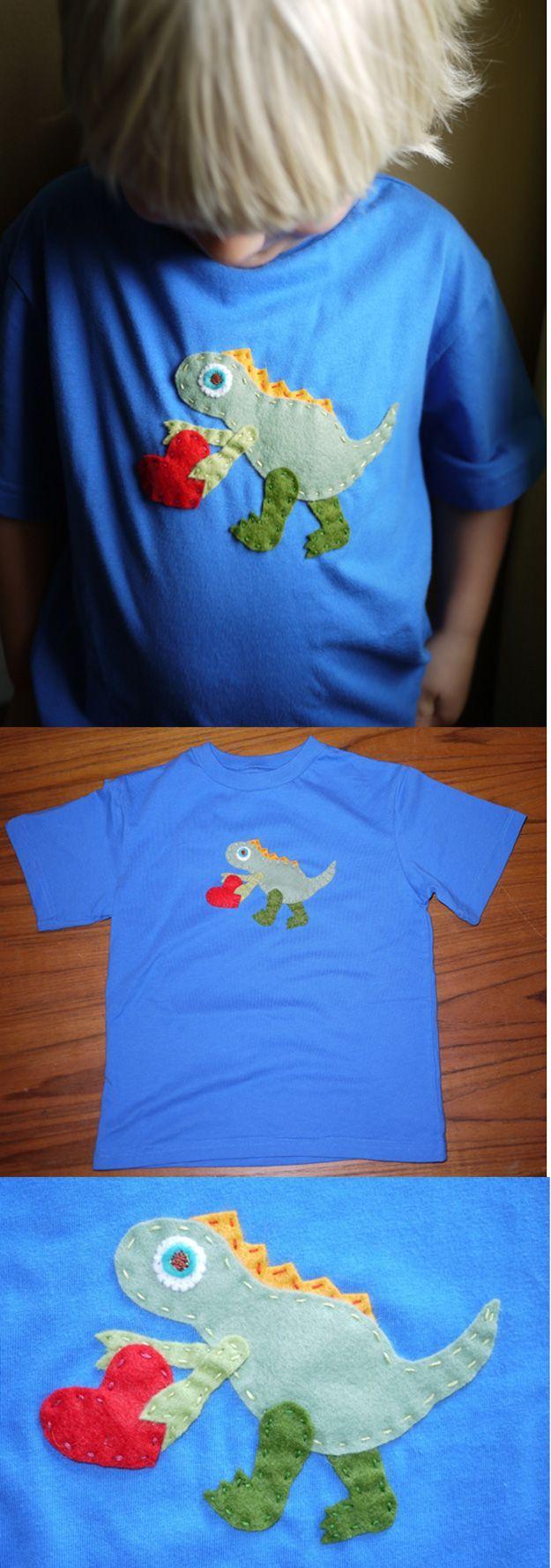 Easy Homemade Tshirt Craft for Boys | Dinosaur Shirt by DIY Ready at www.diyready.com/15-diy-clothes-for-kids-you-should-make/