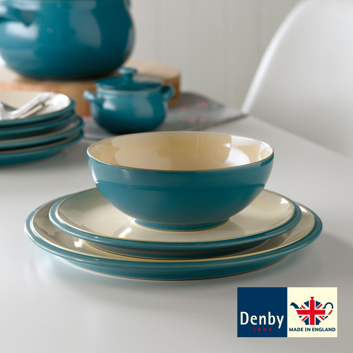 costco uk denby cook and dine turquoise 12 piece. Black Bedroom Furniture Sets. Home Design Ideas
