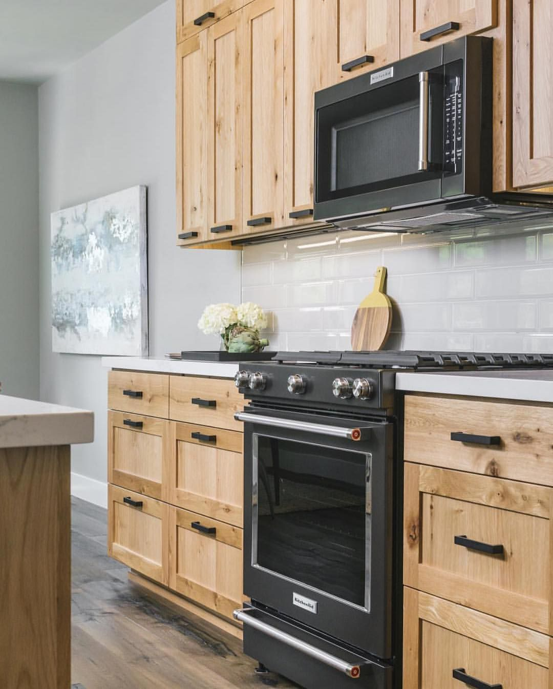 Matte Black Appliances Yes Or No Let Us Know In The Comments Either Way Love This Design From Jordan Wood Kitchen Cabinets Light Wood Cabinets Wood Kitchen