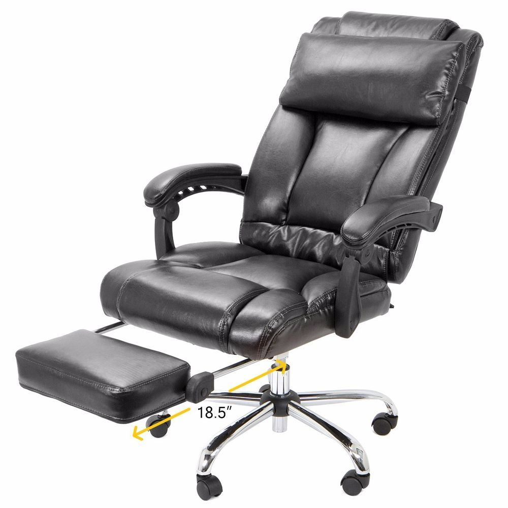 Ergonomic Office Chair Ebay Desk Vintage Barton Executive Reclining High Back Leather Footrest Home Garden Furniture Chairs