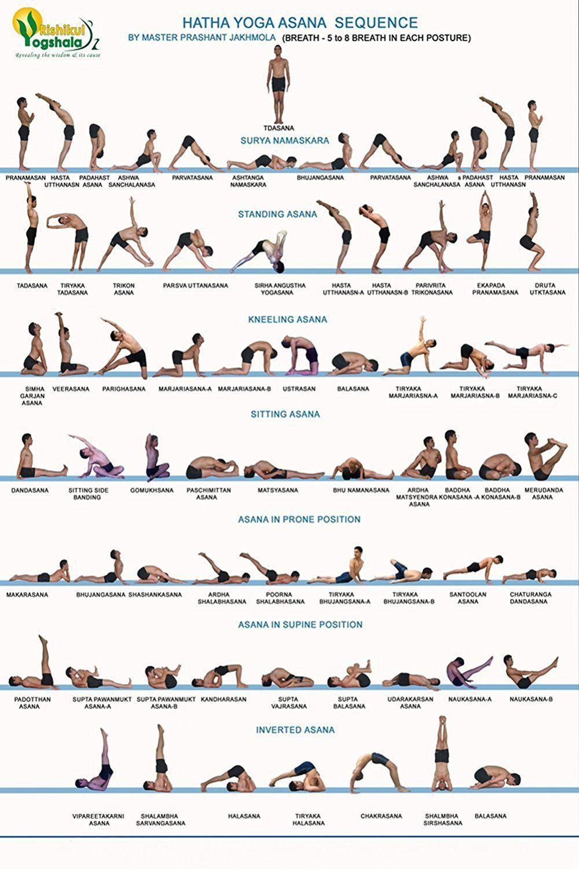 Poster Dnoving Stylish Art Print Hatha Yoga Asana Sequence Yoga Action Chart Pattern Print Wall Decorative W Hatha Yoga Training Hatha Yoga Sequence Hatha Yoga