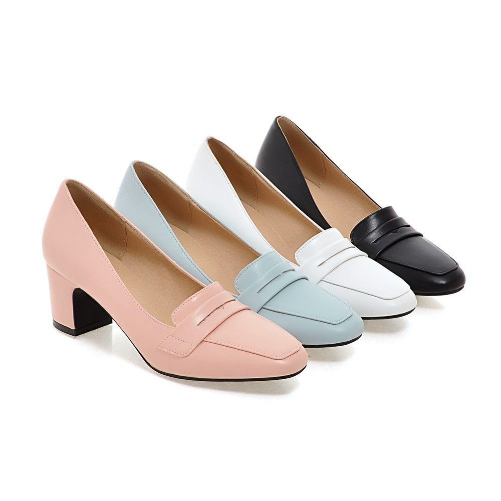 Womens Sweet Office Patent Leather Shoes Bowknot Slip On High Block Heels Pumps
