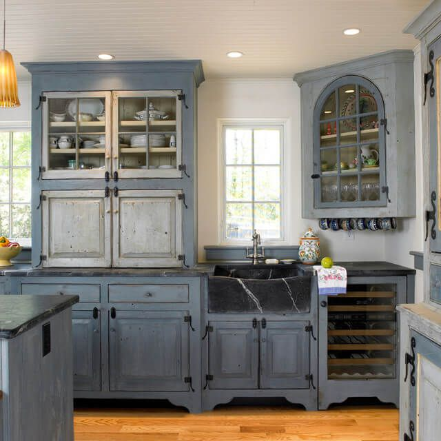 dark cobalt blue matte farmhouse cabinets on farmhouse kitchen hutch id=78139
