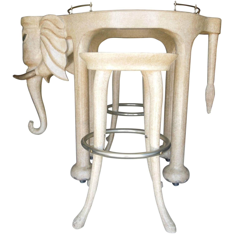 Rare Three Piece 1980s Elephant Bar Table and Stools Custom Made by